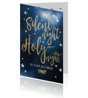 Chique kerstkaart Silent Night Holy Night
