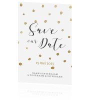 Chique Save the Date kaart gouden confetti