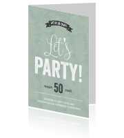 Party typografie uitnodigingskaart mint