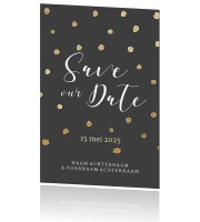 Save the Date kaartje donker goud confetti