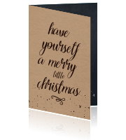 Typografische Engelse kerstkaart Merry Little Christmas
