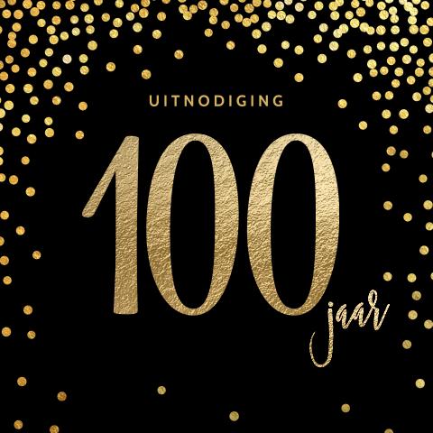 Elegante 100 jaar verjaardagsuitnodiging zwart goud