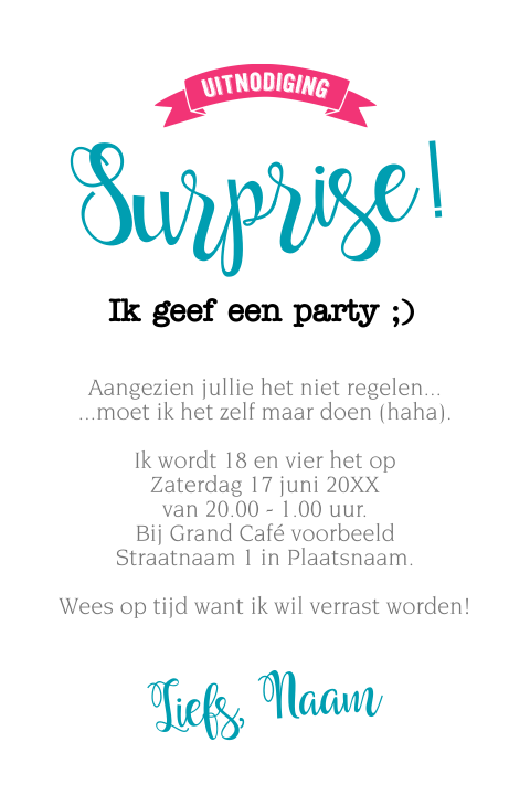 Grappige surprise party uitnodiging 18 jaar