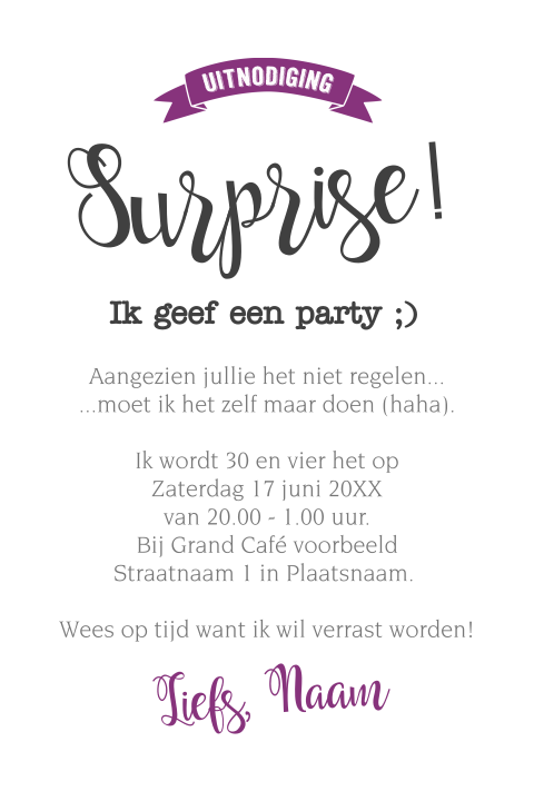 Grappige surprise party uitnodigings kaart