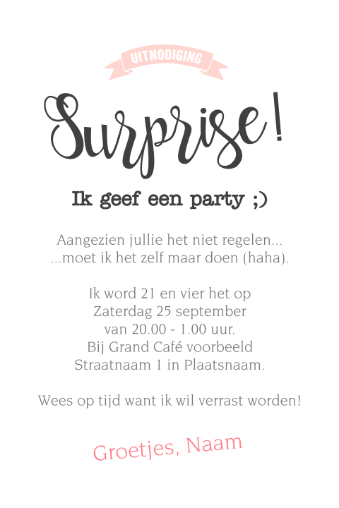 Grappige uitnodiging eigen surprise party