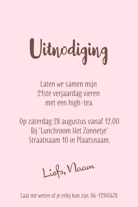 Grappige uitnodiging high tea