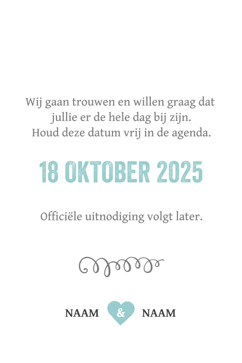 Hip mint blauwe Save the Date kaart typografie