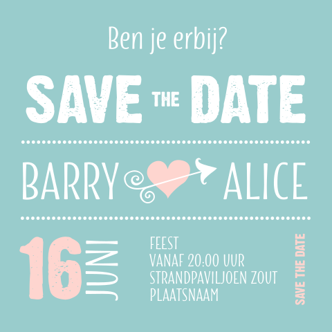 Hip Save the Date kaartje typografie mint