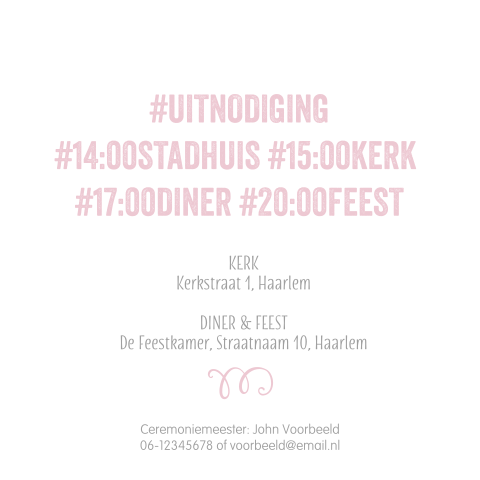 Hippe aquarel trouwkaart uitnodiging roze hastags