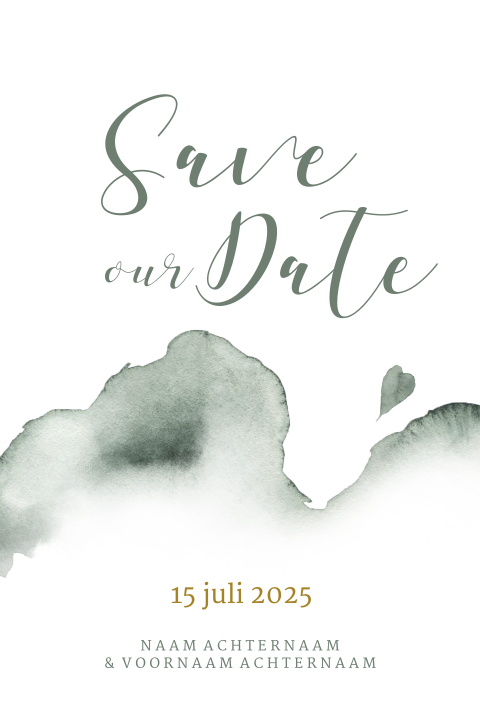 Hippe save the date kaart groene aquarel waterverf
