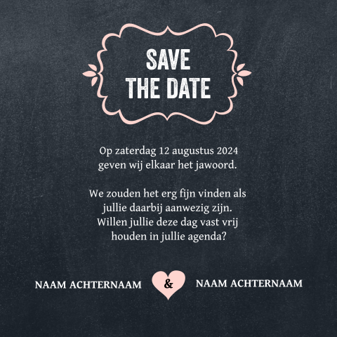 Hippe typografische save the date kaart wit