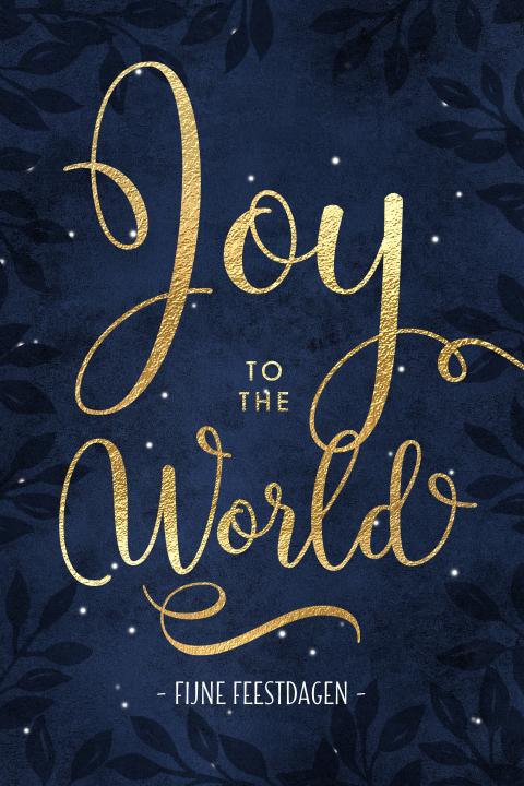 Kerstkaart Joy to the World goud typografie
