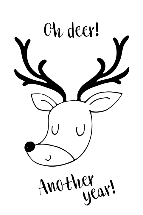Oh deer another year uitnodiging grappig wit