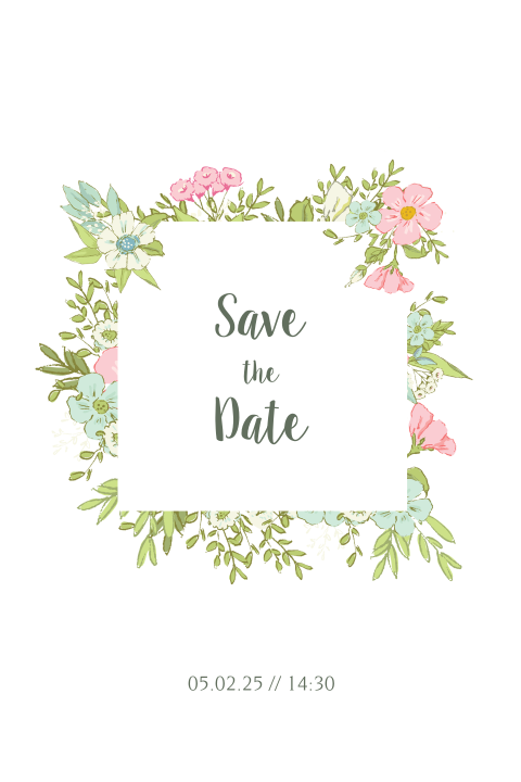 Romantische Save the Date kaart bloemen