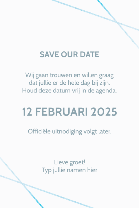 Save the Date  geometrische lijnen aquarel