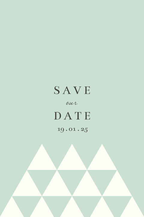 Save the Date kaart geometrische driehoekjes mint groen