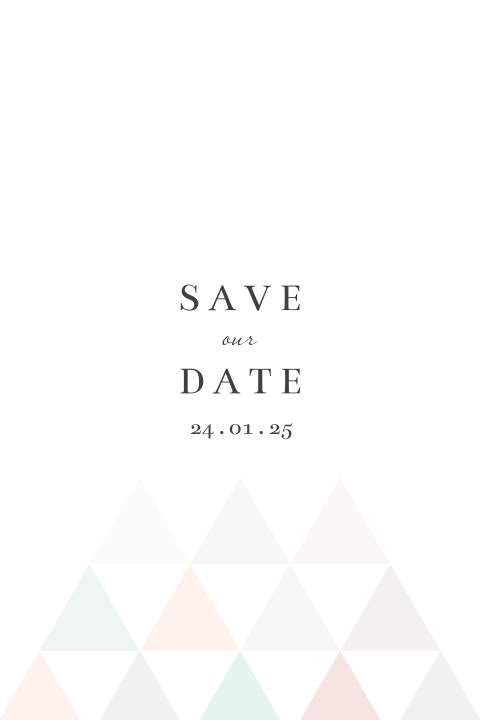 Save the Date kaart geometrische driehoekjes roze wit