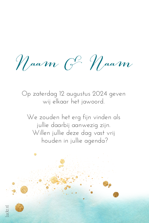 Save the Date kaart stijlvol goud zeegroen aquarel