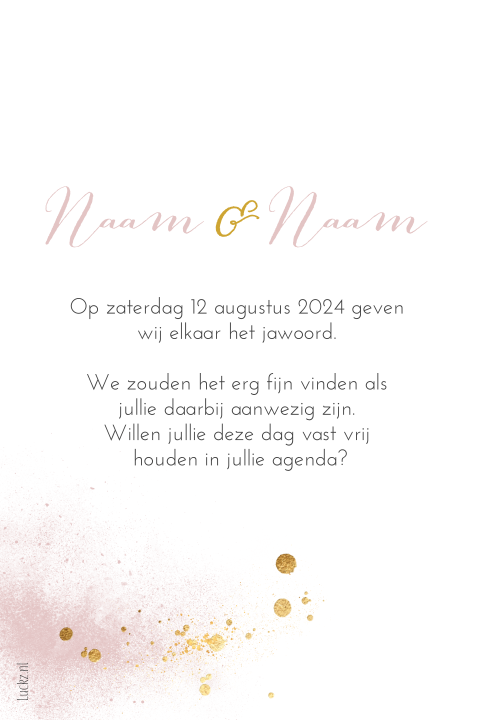 Save the Date kaartje chique roze goud