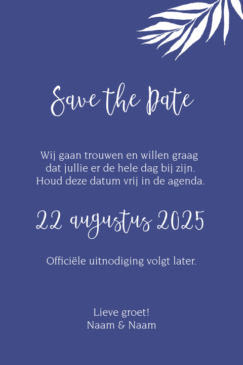 Save the Date tropisch blauw groen