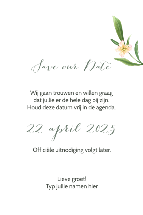 Stijlvolle Save the Date kaart botanisch