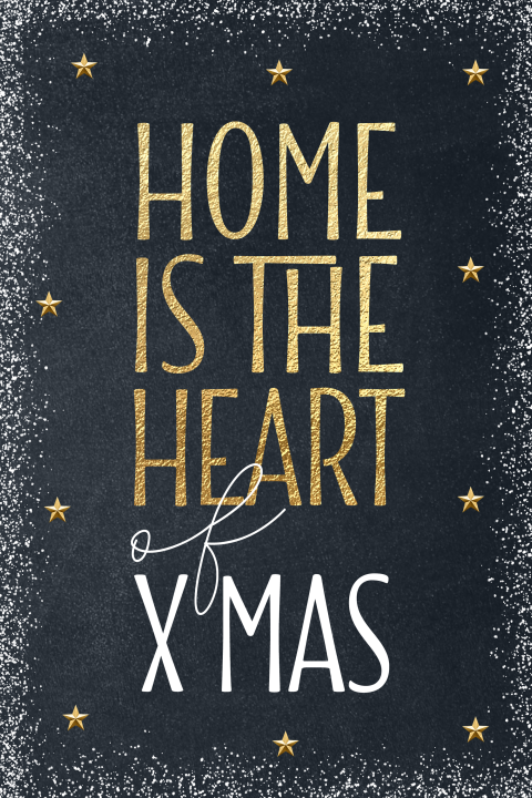 Warme kerstkaart home is the heart of x-mas