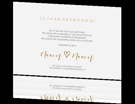 Mooie Jubileum Uitnodiging Met Foto 25 Jarig Huwelijk Grijs Goud