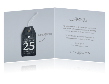 Moderne Huwelijksuitnodiging 25 Jaar Krijtbord