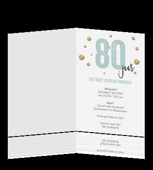 Goede Mooie uitnodiging verjaardag 80 jaar typografie OF-94