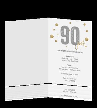 Verwonderlijk Luxe verjaardag uitnodiging 90 jaar typografie XK-71