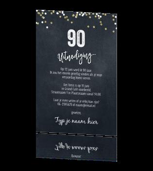 Verwonderend Uitnodiging verjaardag 90 jaar man of vrouw foto enkele fotokaart LJ-35