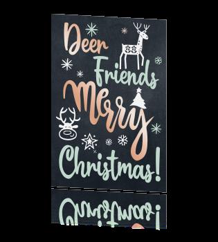 kerstkaart Deer friends, Merry Christmas