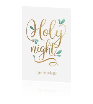 Holy Night kerstkaart wit goud