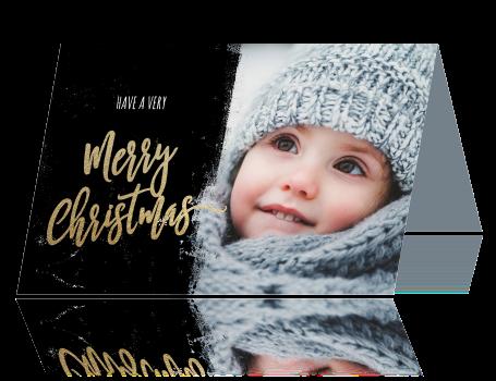 Originele kerstkaart kind foto zwart goud