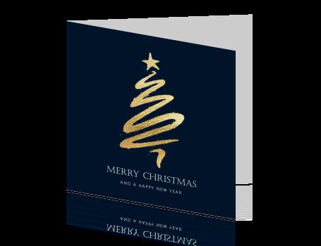 Stijlvolle Kerstkaart Gouden Kerstboom
