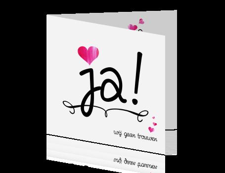 Bruiloft Uitnodiging Wit Ja