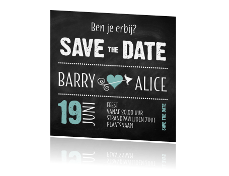 Hippe save the date typografie krijtbord