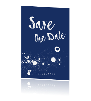 Save the date donker blauw spetters