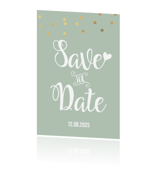 Save the Date kaart groen confetti