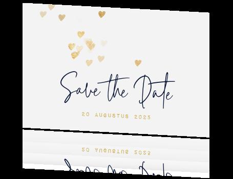 trendy save the date kaartje gouden hartjes