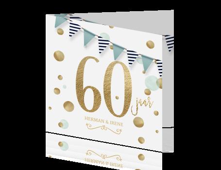 Verwonderlijk Jubileum uitnodiging 60 jaar feest goud wit blauw KI-16