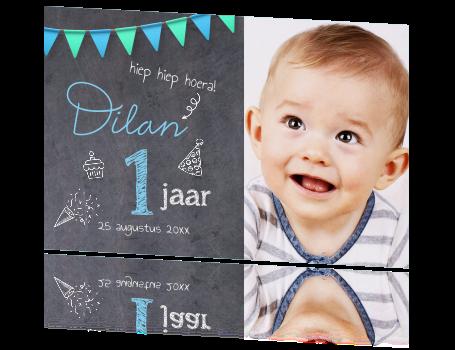 Welp Baby 1 jaar uitnodiging met foto krijtbord QO-94