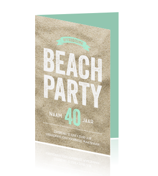 Beach party uitnodiging mint