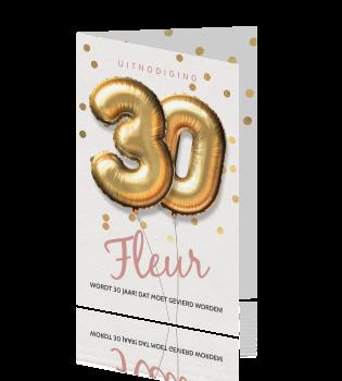 Uitnodiging 30ste Verjaardag Cijfer Ballonnen